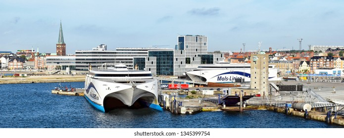 Aarhus, Denmark - July 20, 2017: The high-speed ferries EXPRESS 1 und EXPRESS 2 of the shipping company Molslinjen are moored in the port of Aarhus (Denmark).