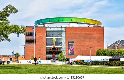 """Aarhus, Denmark - July 20, 2017: Exterior view of the ARoS Aarhus Art Museum with the """"Your rainbow panorama"""" on its the roof."""