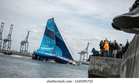 Aarhus, Denmark - July 22 2018: Volvo Ocean Race sailboats arrive in port of Aarhus