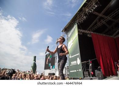 AARHUS, DENMARK - JULY 23 2016: Mads Langer performing at Green Koncert