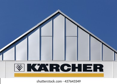 Aarhus, Denmark - June 11, 2016: Karcher sign on a wall of a store. Karcher is a German family-owned company that operates worldwide and is known for its high pressure cleaners floor care equipment