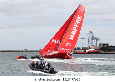 Aarhus, Denmark - June 22, 2018: Volvo Ocean Race with the Mapfre yacht in the harbor of Aarhus in Denmark