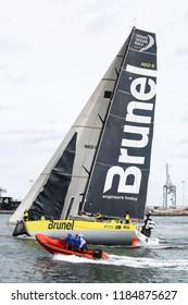 Aarhus, Denmark - June 22, 2018: Volvo Ocean Race with the team Brunel yacht in the harbor of Aarhus in Denmark