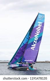 Aarhus, Denmark - June 22, 2018: Volvo Ocean Race with the team AkzoNobel yacht in the harbor of Aarhus in Denmark