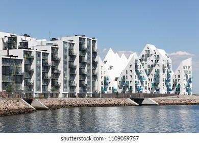 Aarhus, Denmark - June 8, 2018: Aarhus harbor and seaside residences in Denmark