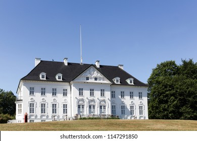 Aarhus, Denmark - June 8, 2018: Marselisborg Palace is a royal residence of the Danish Royal family in Aarhus. It has been the summer residence of Queen Margrethe II since 1967