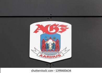 Aarhus, Denmark - May 10, 2018: AGF logo on a wall. Aarhus AGF is a professional Danish football club playing currently in superliga