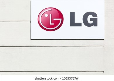 Aarhus, Denmark - May 16, 2017: LG logo on a facade. LG Corporation formerly Lucky Goldstar is a South Korean multinational. LG makes electronics, chemicals, and telecom products
