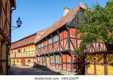 Aarhus, Denmark; May 17th, 2019: The Old Town in Aarhus displays traditional Danish architecture from 16th century to 19th century.