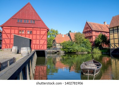 Aarhus, Denmark; May 17th, 2019: The Old Town in Aarhus displays traditional Danish architecture from the 16th to 19th century.
