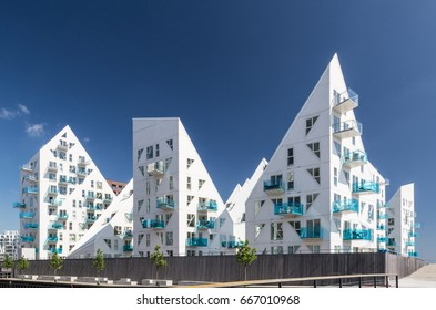 "Aarhus, Denmark - May 25, 2017: Contemporary residential architecture at newly developed harbor area. The complex is called ""Isbjerget"", which is Danish for ""Iceberg"""