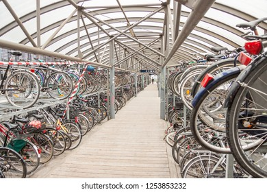 AARHUS, DENMARK - MAY 9, 2017: Bicycles parking in center of town  near train station on may 9, 2017 in Aarhus, Denmark.