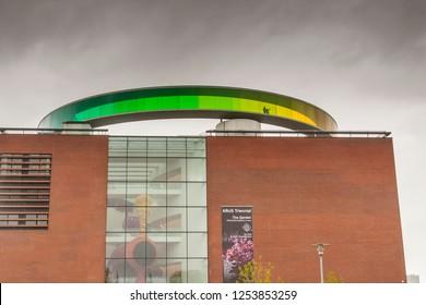 AARHUS, DENMARK - MAY 9, 2017: Modern art museum cloudy day on may 9, 2017 in Aarhus, Denmark.