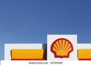 Aarhus, Denmark - November 8, 2015: Shell logo on a gas station. Shell is an Anglo Dutch multinational oil and gas company headquartered in the Netherlands and incorporated in the United Kingdom