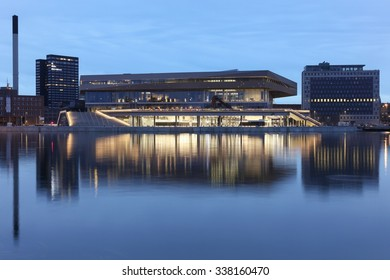 Aarhus, Denmark - November 8, 2015: Urban mediaspace at the blue hour, called also Dokk1 is a multimedia house with scandinavia's largest public library and waterfront area in Aarhus, Denmark