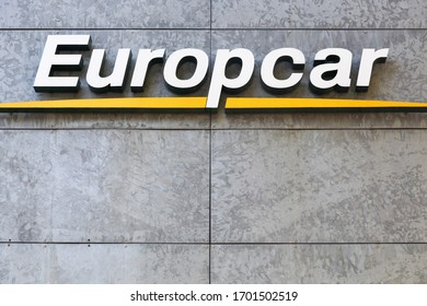 Aarhus, Denmark - October 25, 2015: Europcar logo on a wall. Europcar is a French car rental company founded in 1949 in Paris