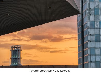 Aarhus skyline detail at dusk: the Rådhus (city hall) watches over the city as the sun sets - Aarhus, Denmark
