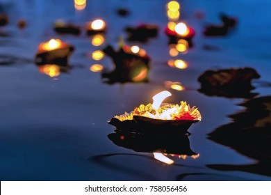 Aarti celebrations of light on river Ganges is a Hindu religious ritual of worship taking place in Varanasi, India.
