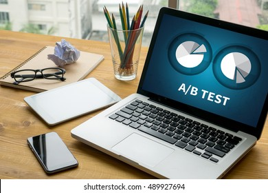 A/B TEST Laptop on table. Warm tone