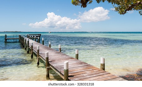 ABACO, BAHAMAS - MAY 22, 2015 - Small pier and beautiful water  on May 22, 2015 in Man O War Cay Abaco.