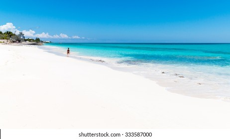 ABACO, BAHAMAS - MAY 22, 2015 - A beautiful beach with crystalline water on May 22, 2015 in Man O War Cay, Abaco.