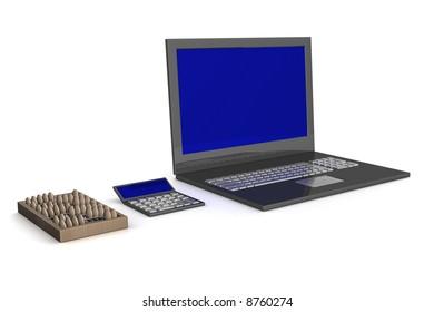 Abacus, calculator, laptop. Development of technologies. 3D image.