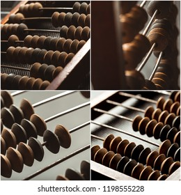 Abacus collage. close up