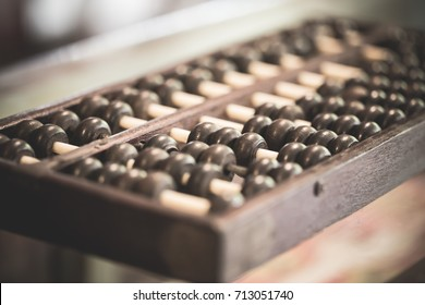 Abacus device in Chinese ancient calculator.