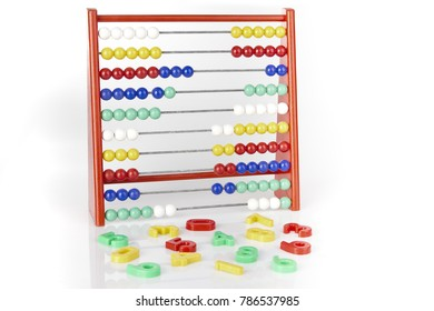 abacus with multicolored numerics on white background