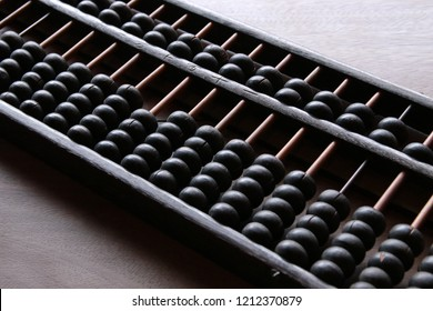 Abacus is a tool to calculate in the ancient period on wooden background
