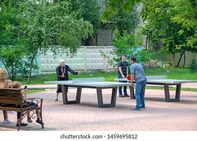 Abakan Russia 07072019 Elderly Woman Public Stock Photo Edit Now 1459695812