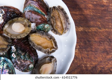 Abalone meat and abalone shells.