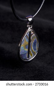 abalone necklace shot in studio over black