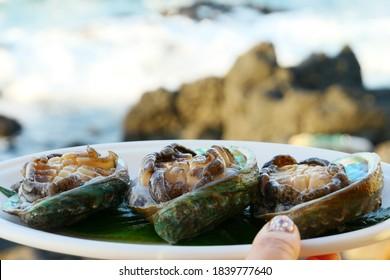 abalone sashimi eaten in jeju