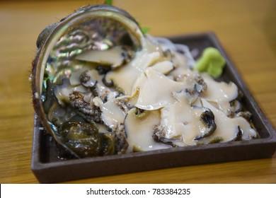 Abalone sashimi in Hokkaido
