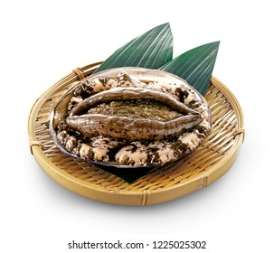 Abalone(Awabi) on bamboo tray on white