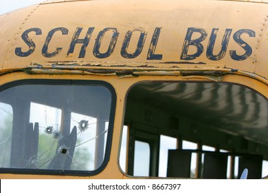 An abandon broaken down school bus