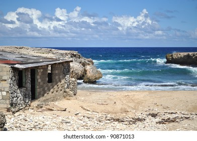 Abandon house ruin on beach