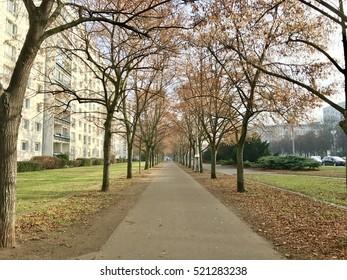 Abandon pedestrian path in Autumn on Karl-Marx-Allee, Berlin Germany
