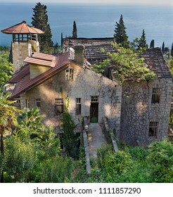 Abandon rusty house on the sea, interesting place of Abkhazia, old gagra. panorama view