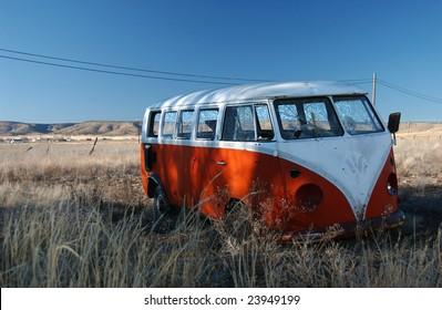 abandon VW bus on Route 66, Arizona, USA