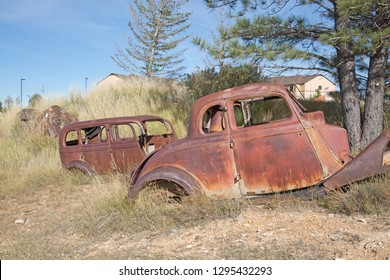 Abandond rusty wrecks of the old car