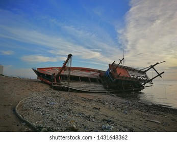 The views old shipwreck or abandoned  at Pattaya beach in Chonburi and cloudy sky day and landmark and background outdoor, Thailand beach