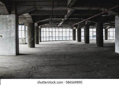 abandoned abstract dark interior room dirty