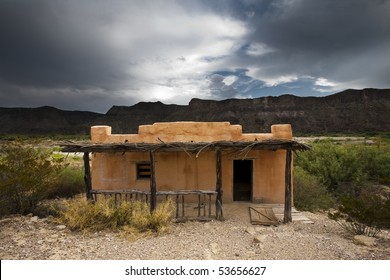 Abandoned adobe house
