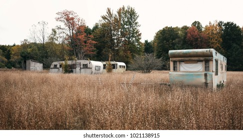 Abandoned American trailer park
