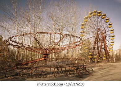 Abandoned amusement park in the center of the city of Pripyat, in Chernobyl Exclusion Zone, Ukraine