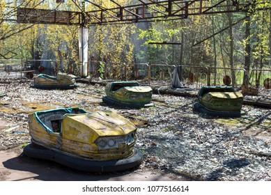 Abandoned amusement park in Pripyat, Chernobyl alienation zone.