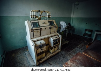 Abandoned analytic laboratory in old empty flour mill factory.