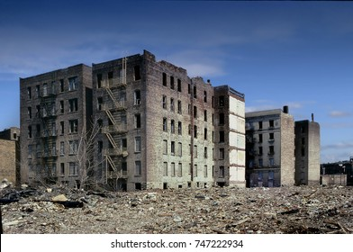 abandoned apartment buildings in a slum area of the Bronx, New York, June 8, 2013